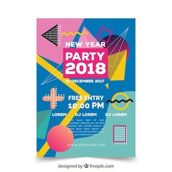 Cartaz colorido do ano novo do partido no estilo de memphis