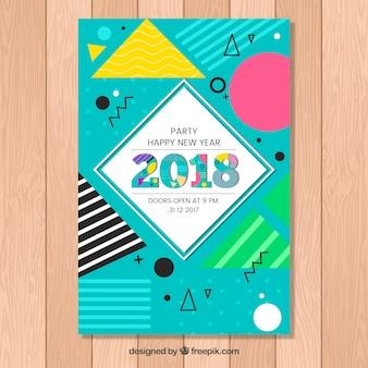 Cartaz colorido do ano novo em estilo memphis