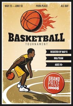 Cartaz colorido do campeonato de basquete vintage