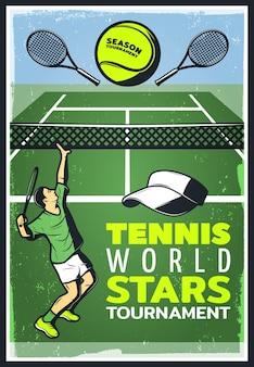 Cartaz colorido do campeonato de tênis vintage