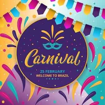 Cartaz colorido do carnaval do rio em fundo escuro