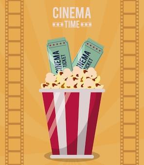 Cartaz colorido do tempo de cinema com balde de pipoca e ingressos