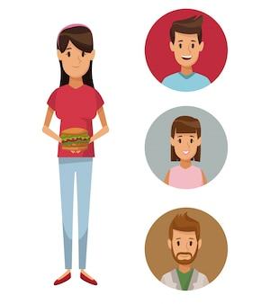 Cartaz colorido mulher jovem de corpo inteiro com comida de hambúrguer e ícone de pessoas estabelecidas
