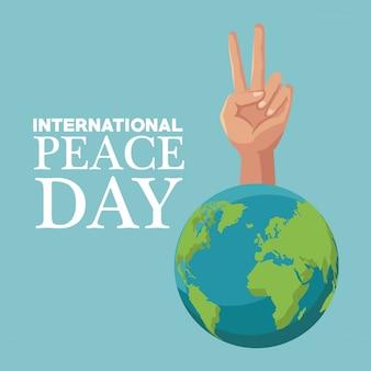 Cartaz colorido poster mundo da terra com mão símbolo da vitória dia internacional da paz
