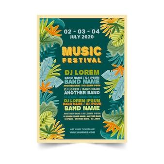 Cartaz colorido tropical da música