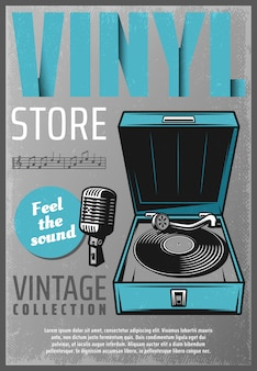 Cartaz colorido vintage da loja de música retrô com microfone de vinil de inscrição e notas musicais