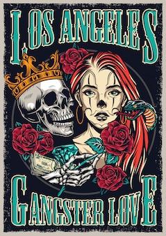 Cartaz colorido vintage de estilo de tatuagem chicano