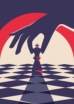 Cartaz com a mão segurando uma peça de xadrez. conceito de estratégia em design plano.