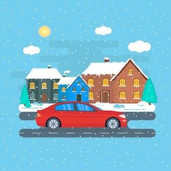 Cartaz com a máquina vermelha, táxi na cidade. conceito de serviço público de táxi. paisagem urbana com neve no inverno. ilustração vetorial plana.