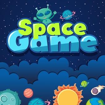Cartaz com alienígena e sistema solar no espaço