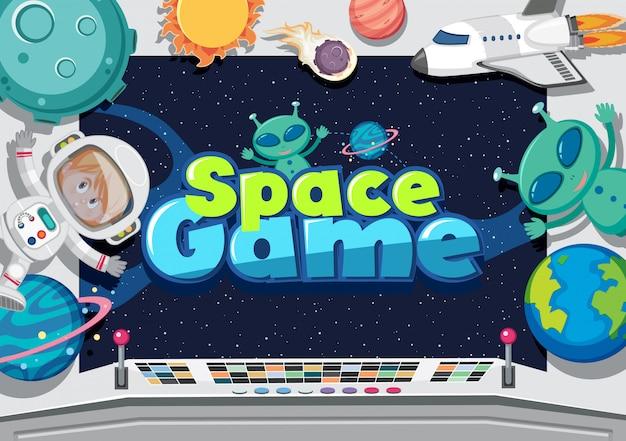 Cartaz com alienígenas e astronauta no espaço