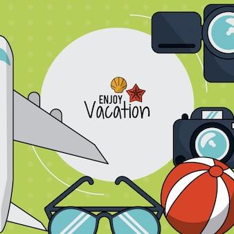 Cartaz com avião e câmera e óculos e bola de praia