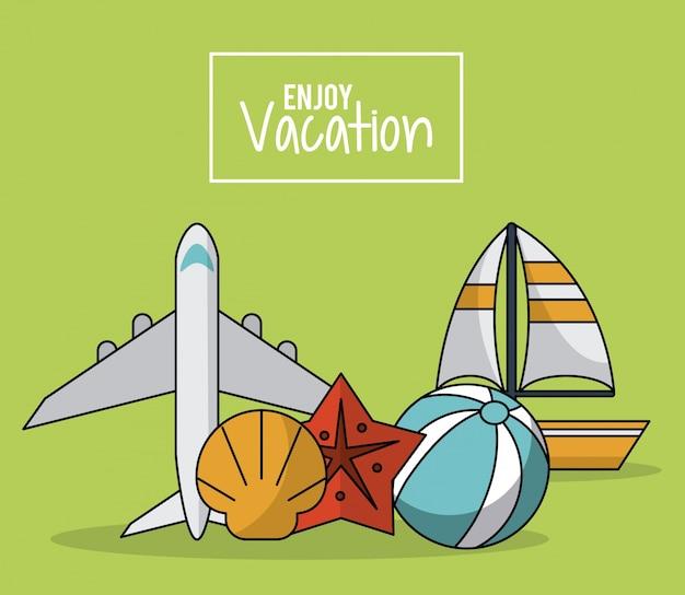 Cartaz com avião e veleiro e estrela do mar e bola de praia