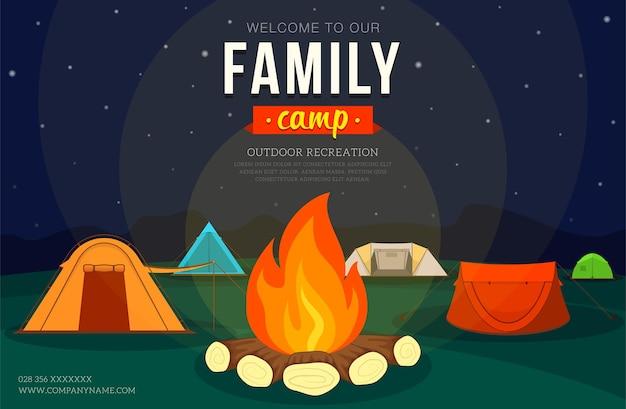 Cartaz com barraca de camping e fogueira para acampamento de aventura em família
