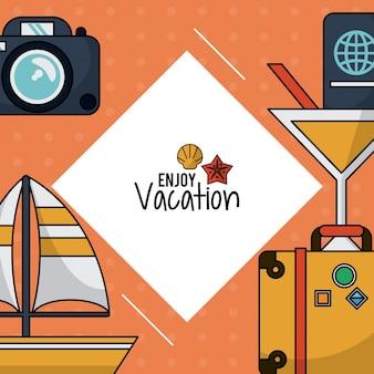 Cartaz com camera e bagagem e coquetel e veleiro