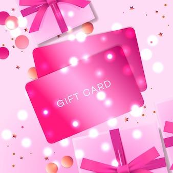 Cartaz com cartões de presente, caixa de presente rosa e confetes.