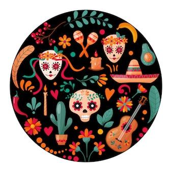 Cartaz com caveiras de açúcar, decoração floral e frutas