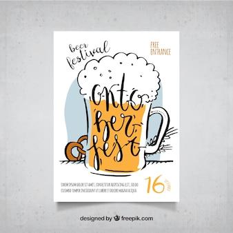 Cartaz com cerveja desenhada à mão e pretzel