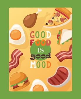 Cartaz com citação boa comida é bom humor fast-food publicidade panfleto café rua menu decoração