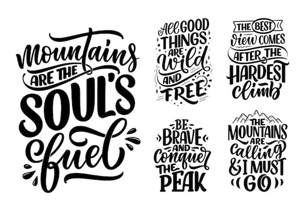 Cartaz com citações sobre montanhas, letras, slogans, frases motivacionais para vetor de design de impressão