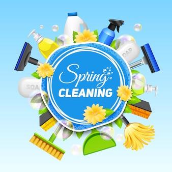 Cartaz com composição de diferentes ferramentas para serviço de limpeza colorido no vetor de fundo azul