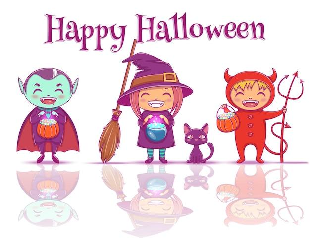 Cartaz com crianças em trajes de halloween de bruxa, vampiro e diabo estão prontos para a festa de feliz dia das bruxas. isolado no fundo branco com reflexão. ilustração vetorial