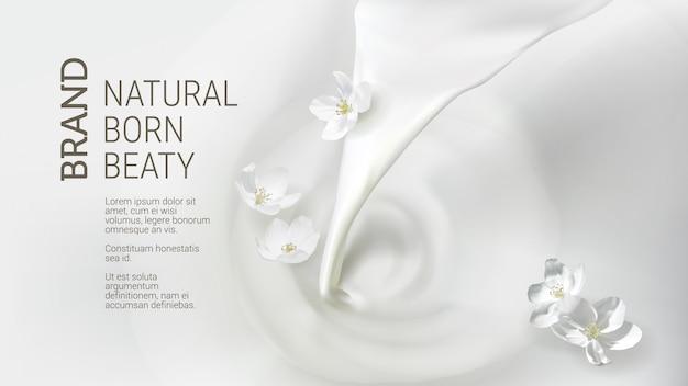 Cartaz com derramar leite, caindo flor de jasmim
