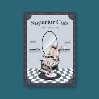 Cartaz com design de conceito de barbeiro.