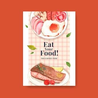 Cartaz com design de conceito do dia mundial da alimentação para propaganda e folheto em aquarela Vetor grátis