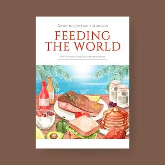 Cartaz com design de conceito do dia mundial da alimentação para propaganda e folheto em aquarela