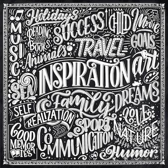 Cartaz com diferentes tipos de inspirações. palavras inspiradoras.
