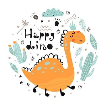 Cartaz com dinossauro fofo e letras.
