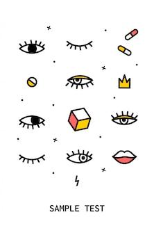 Cartaz com elementos de design dos anos 80.