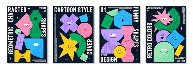 Cartaz com figuras geométricas de desenhos animados fofos com diferentes emoções faciais