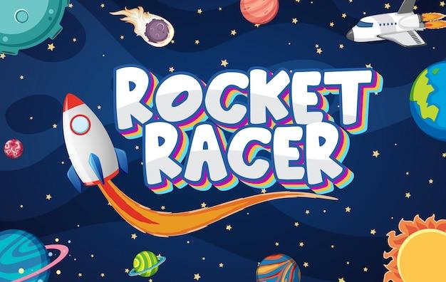 Cartaz com foguete no espaço escuro