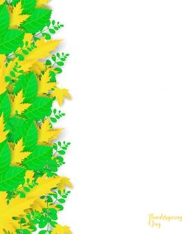 Cartaz com folhas e elementos florais.