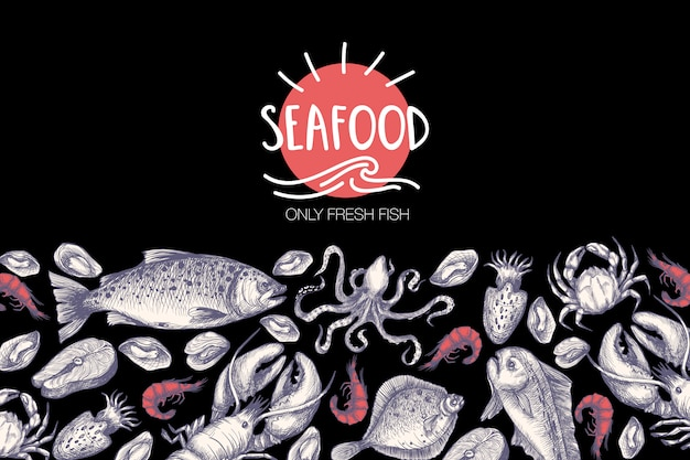 Cartaz com frutos do mar no estilo vintage gráfico.