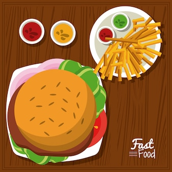Cartaz com hambúrguer e molhos e batatas fritas