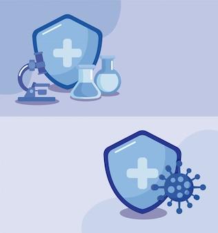 Cartaz com ícones de vacinação e saúde, imunização médica