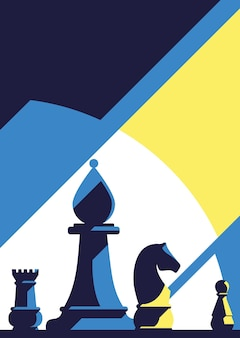 Cartaz com ilustração de diferentes peças de xadrez