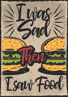Cartaz com ilustração de hambúrgueres
