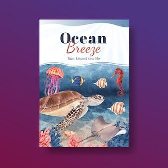 Cartaz com ilustração em aquarela de design de conceito de vida marinha
