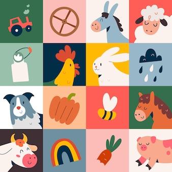 Cartaz com ilustrações fofas de animais de fazenda