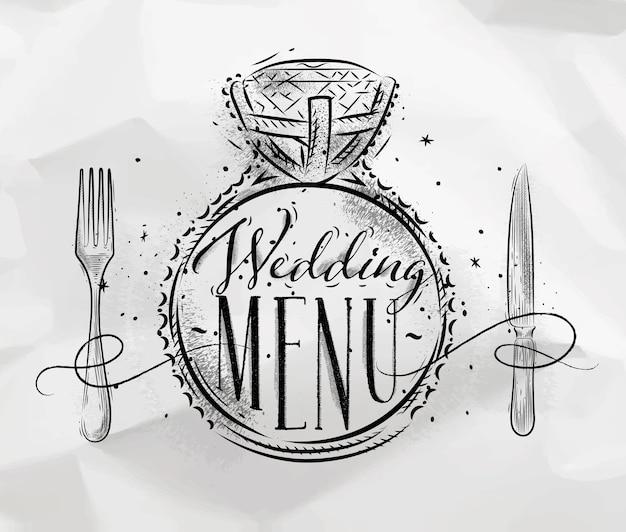 Cartaz com letras de anel de casamento com menu de casamento desenhado em fundo de papel amassado