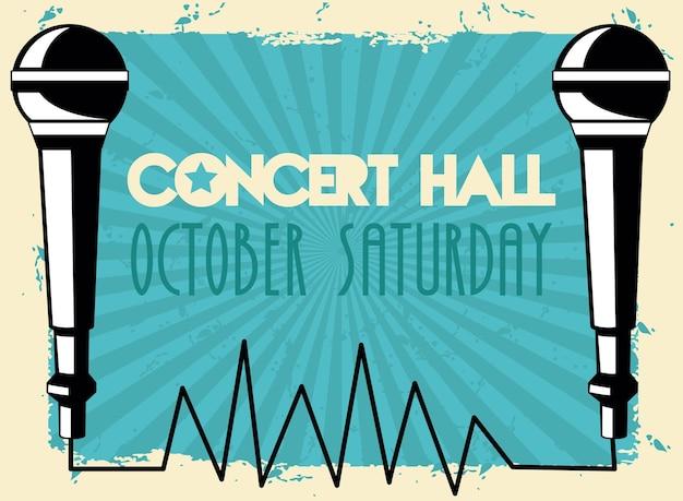 Cartaz com letras de sala de concertos ao vivo com microfones