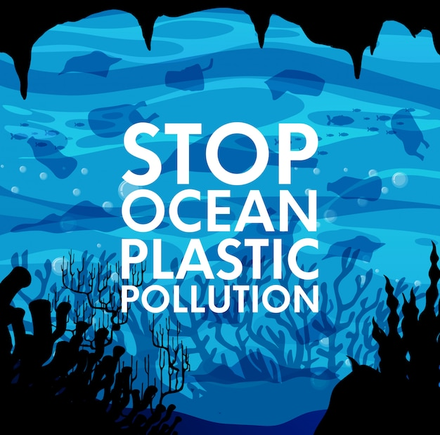 Cartaz com lixo no fundo do oceano
