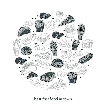 Cartaz com mão desenhada fast-food