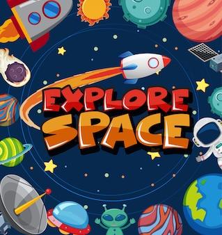 Cartaz com muitos planetas e nave espacial