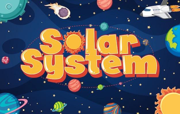 Cartaz com muitos planetas no sistema solar
