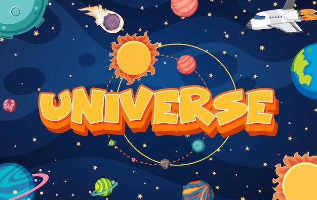 Cartaz com nave espacial e muitos planetas no universo